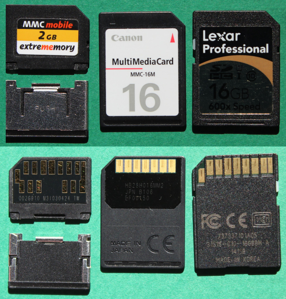 MMCplus (1, 4 and 8bits), MMC (1 bit interface), SD (1 and 4 bits)